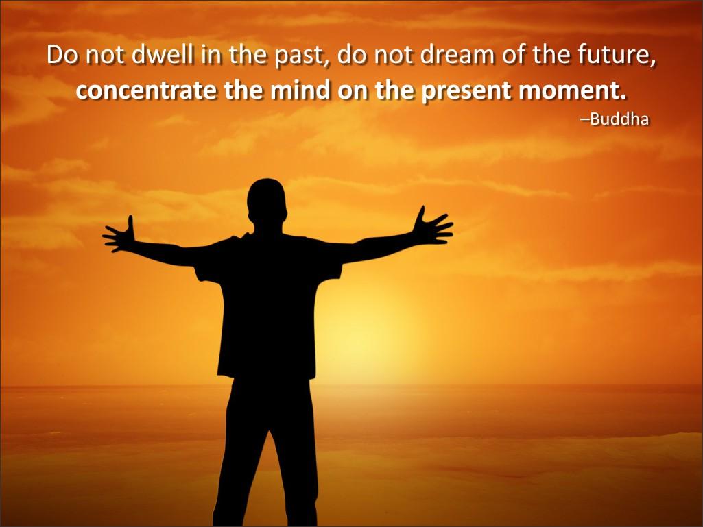 denk aan het heden tijdens mindfulness oefeningen